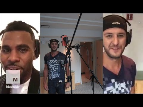 "Luke Bryan & Jason DeRulo Record Split-Screen Duet of ""Want to Want Me"" 
