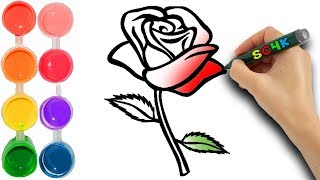 How to draw a rose flower | kids learn colors | step by step art tutorial