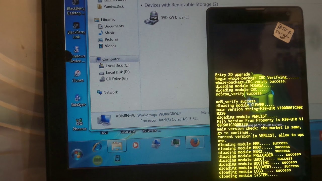 Flashing Huawei H30-U10i Honor 3C Via Micro SD DLoad - смотреть