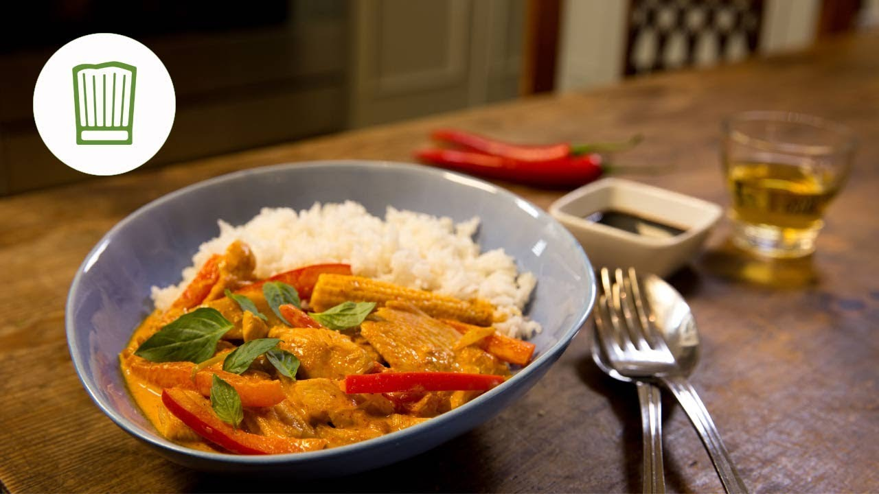 Rotes Thai Curry Mit Huhn Und Paprika Chefkoch De Youtube