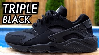 One of BULL1TRC's most viewed videos: Triple Black Air Huarache On-Feet