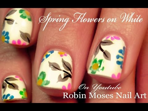 easy spring flower nails on white  nail art for beginners