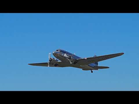 Finnish DC-3 OH-LCH takes off from Malmi Airport during the airport's 80 year anniversary