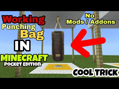 minecraft pe how to make a punching bag cool minecraft pocket edition trick youtube. Black Bedroom Furniture Sets. Home Design Ideas