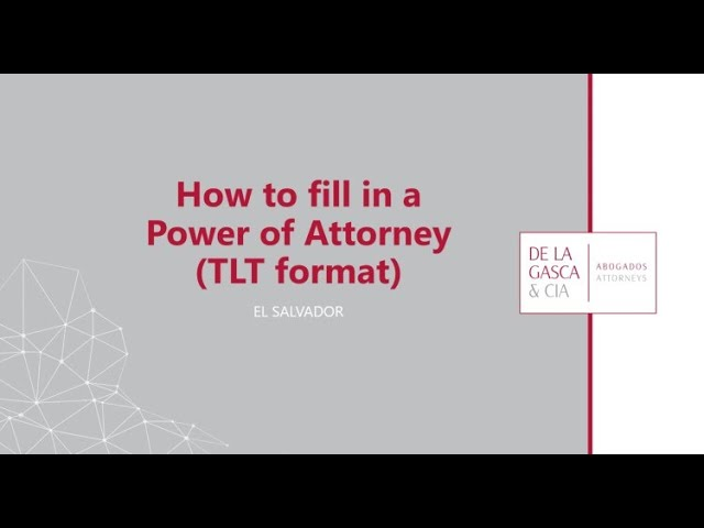 POWER OF ATTORNEY TUTORIAL         (TLT format)
