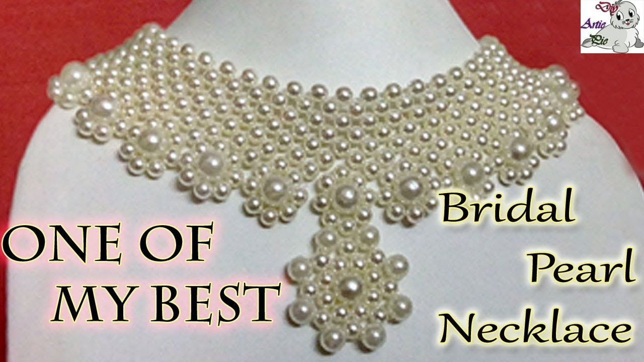 32a18fc463 #20 How to Make Pearl Beaded Bridal Necklace || Diy || Jewellery Making