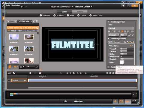 Titel mit Videosequenz als Füllung in Avid studio und Pinnacle Studio