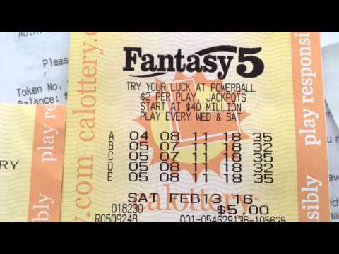 California Lottery Fantasy 5 Jackpot Winning Ticket - YouTube