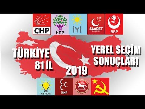 31 MART 2019 YEREL SEÇİM SONUÇLARI 81 İL #yerelseçim2019