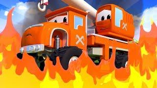 Monster Trucks for children - THE FIRE ACCIDENT  FIRE TRUCK is needed  Monster Town