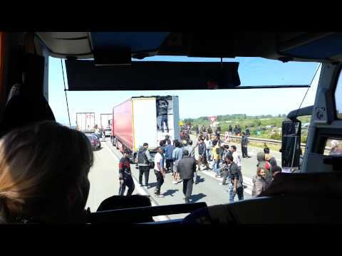 Rioting migrants yesterday- Calais to Dover port