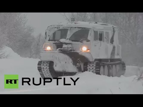 Arctic infantry test drive new Ruslan ATV on mountainous snow in Russia