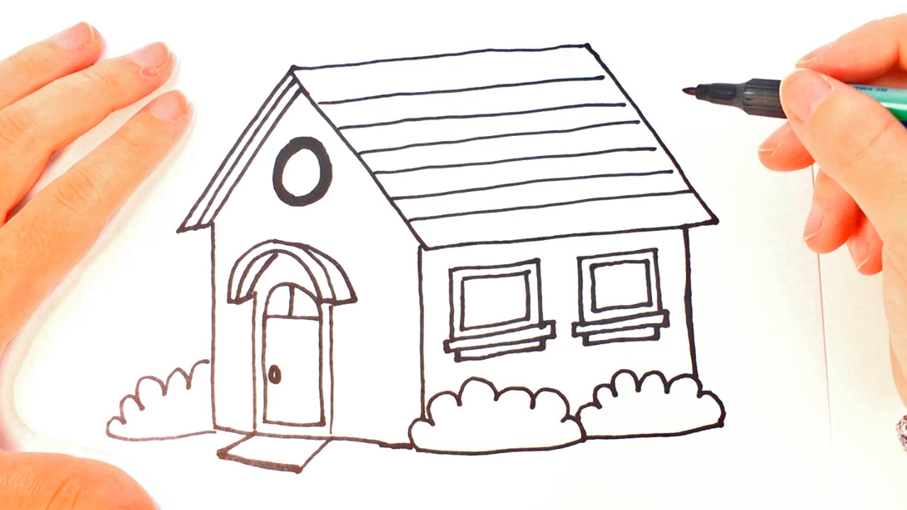 How to draw a house for kids cottage house easy draw tutorial