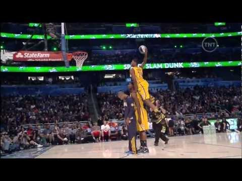 Paul George Jumps Over Roy Hibbert and Dahntay Jones (2012 NBA Dunk Contest)