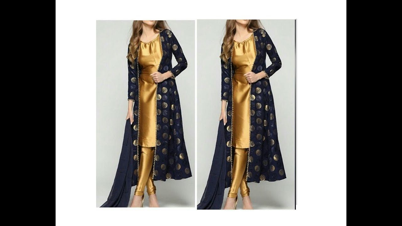 Designer Long Dress With Open Front Jacket