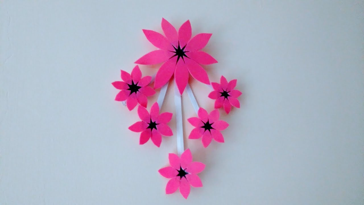 Simple Paper Flower Wall Hanging How To Make Wall Hanging Using Foam Paper Easy Method Diy