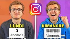 1 semaine pour avoir le plus de followers Instagram (en partant de 0)