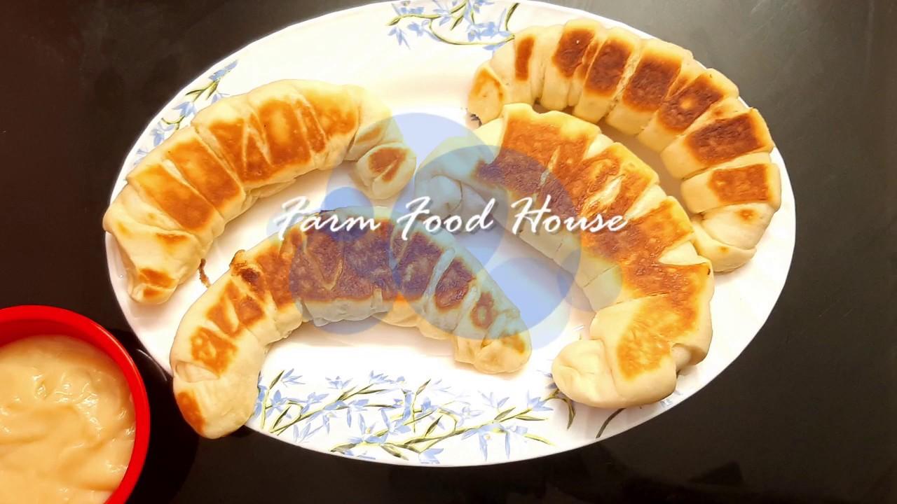 Cream Bun without Oven baking   Pan fried Cream Bun   Farm Food House