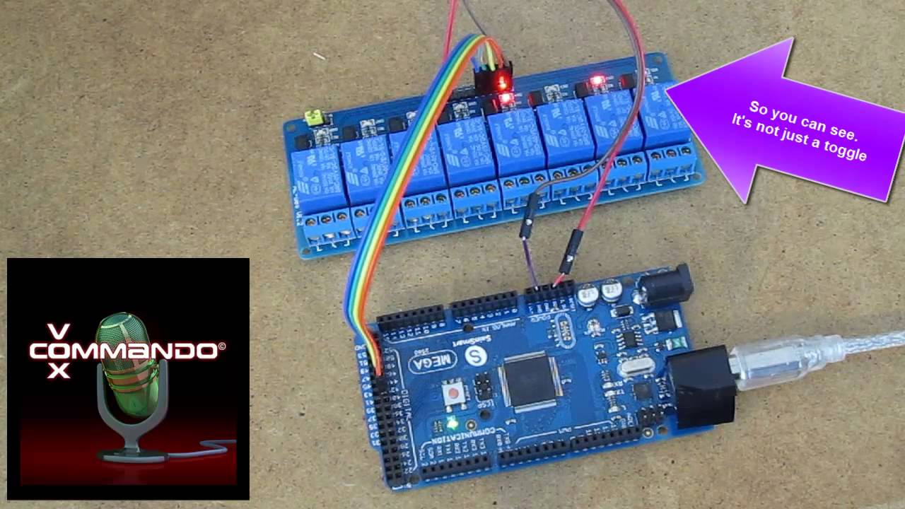 Arduino voice control relays with VoxCommando and serial communication