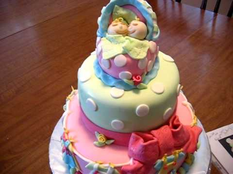 Fondant Baby Shower Cake   YouTube