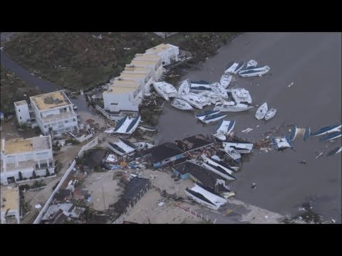 Damage Hurricane Irma on Sint Maarten Saint Martin from helicopter #irma