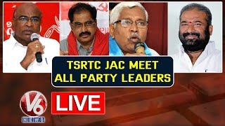 TSRTC JAC Leaders Meeting With All Party Leaders | LIVE | V6 Telugu News
