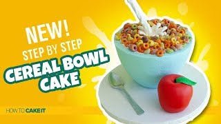 How To Make A GRAVITY DEFYING Cereal Bowl Cake by Cassie Garner | How To Cake It Step By Step