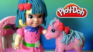 Play Doh Barbie Fuzzy Hair Pinkie Pie Pretty Parlor Playset My Little Pony Clay DisneyCollector
