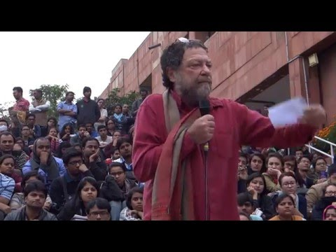 Prof  Ari Sitas Lecture at JNU Ad Block on 19 02 2016  to stand with JNU