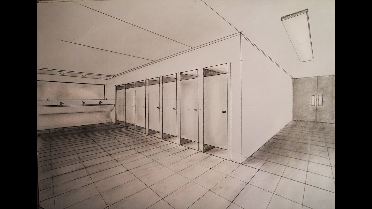 Bathroom perspective drawing - How To Draw Two Point Perspective Common Toilette Restroom