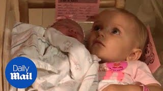 Baby love! Little girl doesn't want anyone touching her baby sis