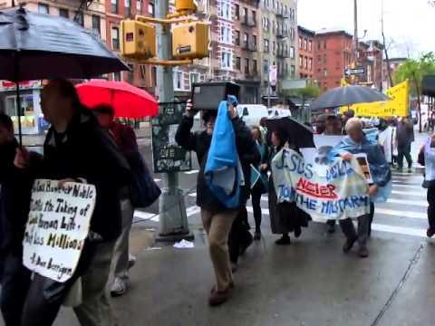 Walk in the rain for Daniel Berrigan