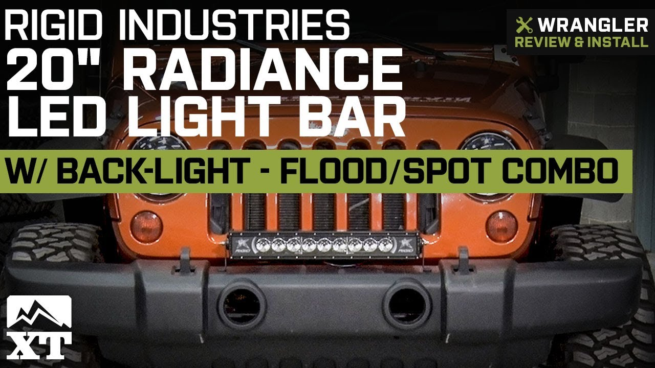 hight resolution of jeep wrangler rigid industries 20 radiance led light bar 1987 2018 yj tj jk review install