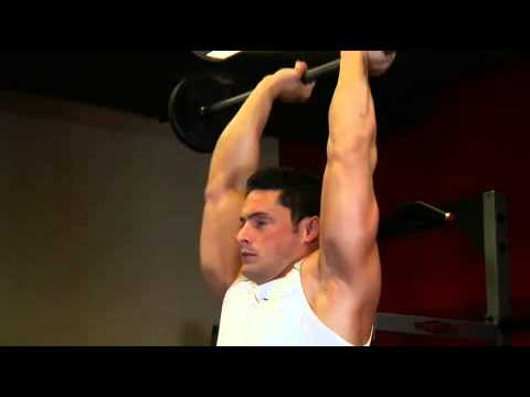 Standin overhead barbell triceps extension