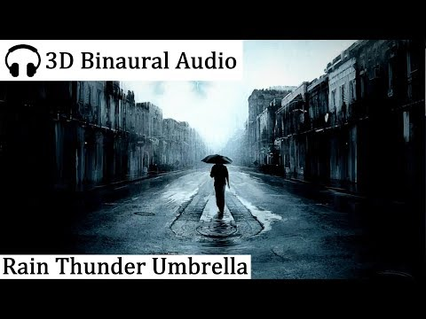 Rain and Thunder Sounds under Umbrella (3D Binaural Audio)