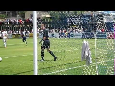 ACFCs Alex Feneridis curves his free kick past Waiatakere wall