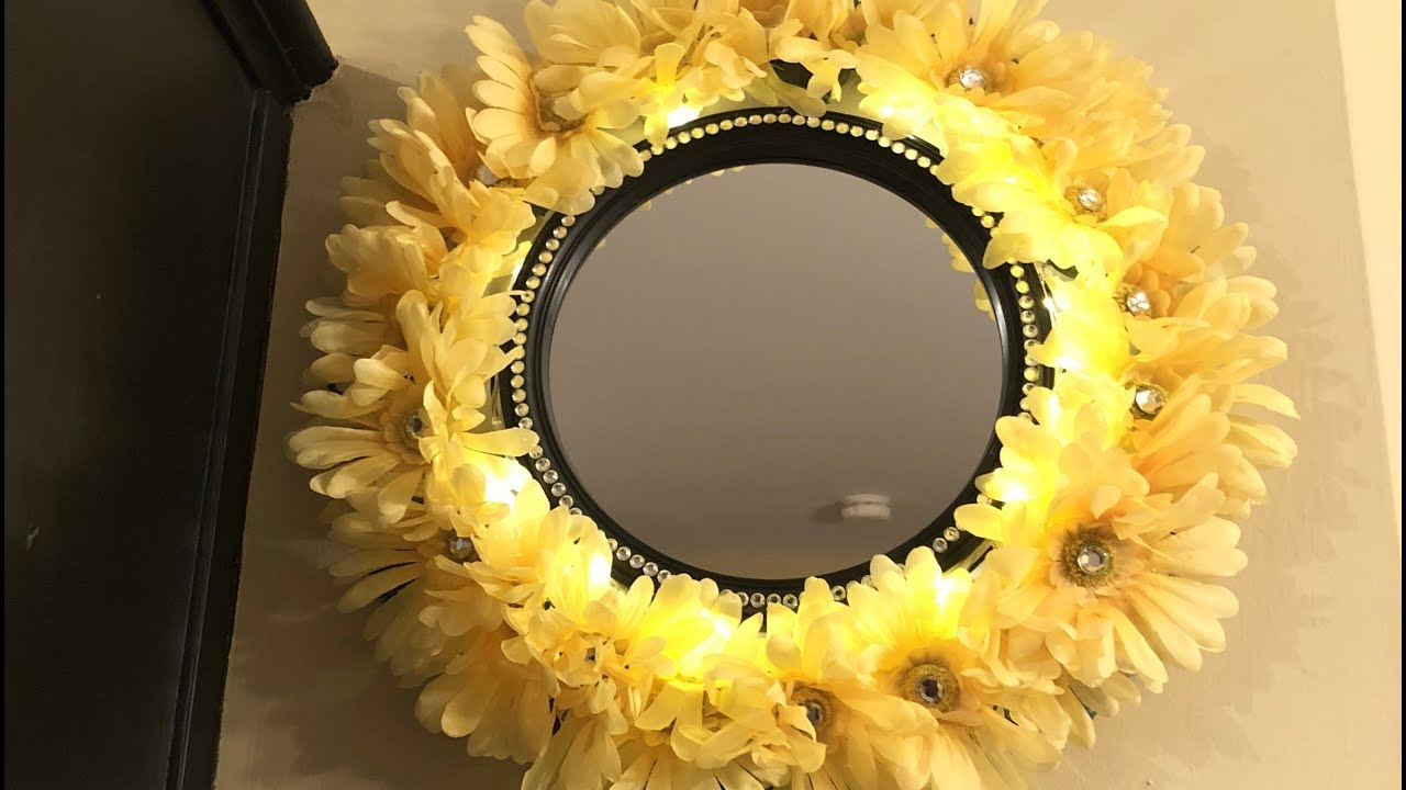 Dollar Tree DIY - 💕 2018 Floral Wall Mirror w/LED Lighting 💕 - YouTube