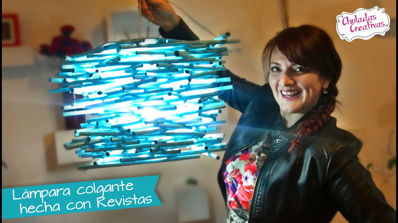 Lampara colgante de revistas chuladas creativas youtube - Como hacer lamparas colgantes ...