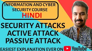 Security Attacks : Active and Passive Attack ll Passive Attack Types Explained in Hindi