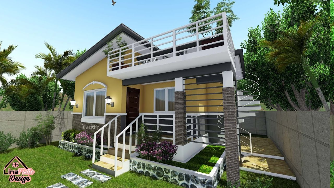 7 6m X 8m Simple House Design With Roof Deck 3 Bedroom Philippines House Design Small House Design Plans Modern Bungalow House Design