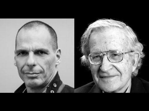Yanis Varoufakis with Professor Noam Chomsky at NYPL, April