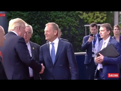 President Donald Trump Departs meeting with EU leaders - European Union Headquarters Meeting