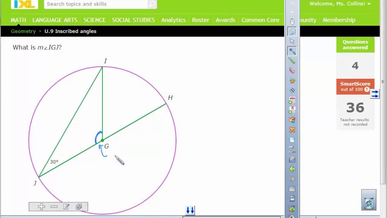 Inscribed Angle IXL Help - YouTube