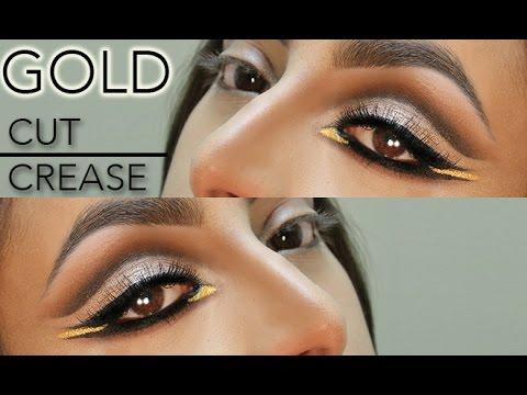 gold cut crease eye makeup tutorial  youtube