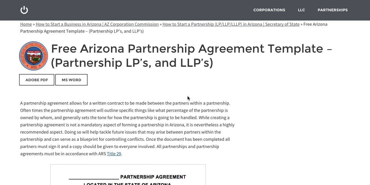 Free Arizona Partnership Agreement Template Partnership LPs And - Llp partnership agreement template