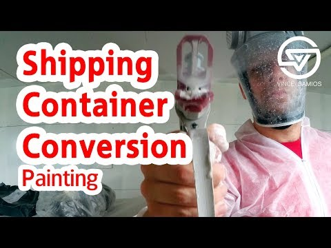 Painting – Shipping container home office – shipping container conversion