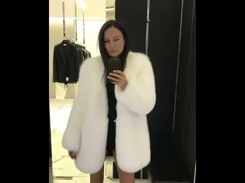 Anna Chibisova in white fox fur