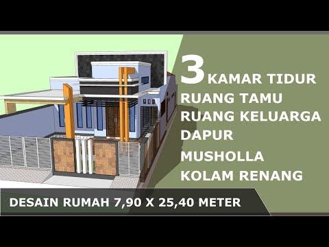 desain-rumah-minimalis-(7,9x25,4-m)-3-kamar-tidur-dengan-musholla-kolam-renang