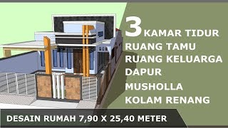 Desain Rumah Minimalis 7 9x25 4 M 3 Kamar Tidur Dengan Musholla Kolam Renang Youtube