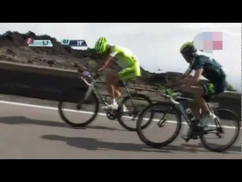 Alberto Contador turns to Ashes his rivals at the Etna Volcano, Giro d'Italia 2011 Stage 9..